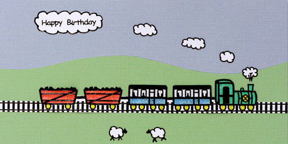 Glittered Flowers  and Train Birthday Card